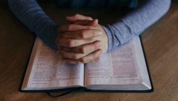 Praying Hands Bible Religious Stock Photo
